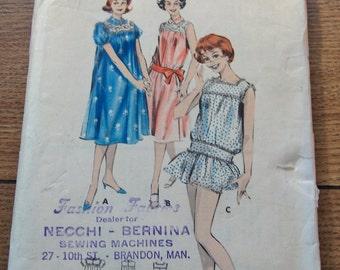 Vintage 50s Butterick pattern 8643 Misses Chemise-Styled SLEEPWEAR s14 b34