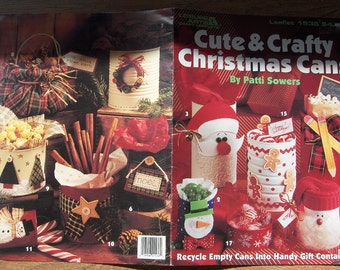 1994 craft leaflet Cute and Crafty CHRISTMAS CANS