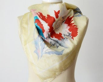 CREAM 1970s Bebe London Floral Indian Silk Scarf