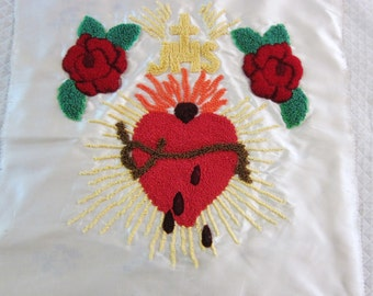 Sacred Heart of Jesus, vintage embroidery, religious embroidery, hand made Catholic pillow, Tambour work, vintage religious