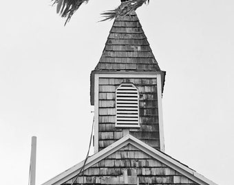 Black and White Photography, Carribean Church Photo, Little Island Christian Cross Steeple, Rustic Tropical Home Decor, Building Photo