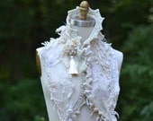 Textured off white angora wool SCARF WRAP with silk tassel, beaded appliqués and crochet detail for Winter weddings