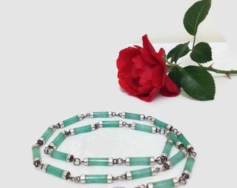 Vintage Aventurine & Sterling Silver Link Necklace