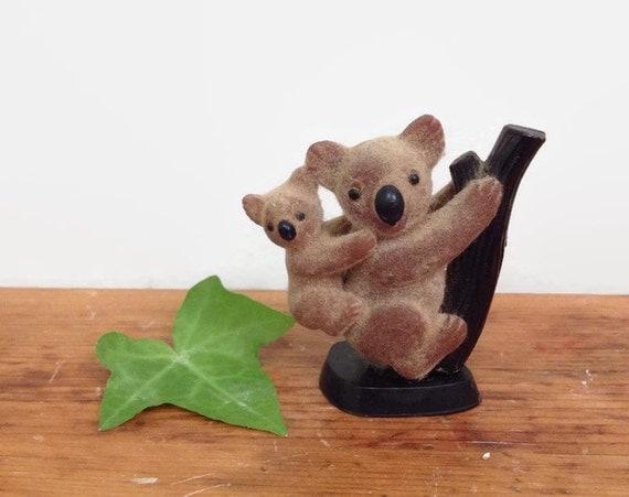 Vintage Flocked Koala and Baby Figurine - Miniature Animal