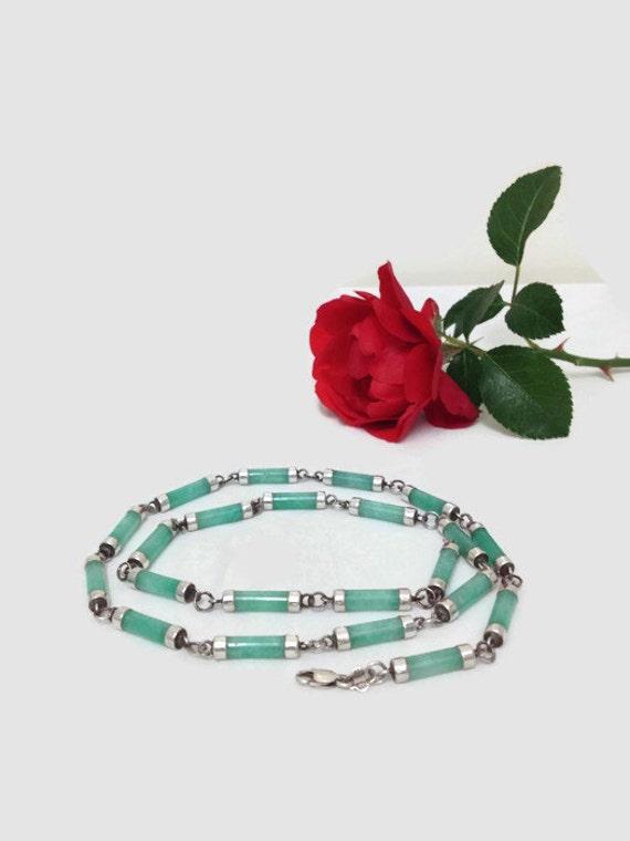 Vintage Aventurine & Sterling Silver Link Necklace
