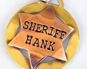 Mixed Metal Sheriff or Deputy Badge For Your Pup - Personalized Dog Tag - Pet Tag - Law Enforcement