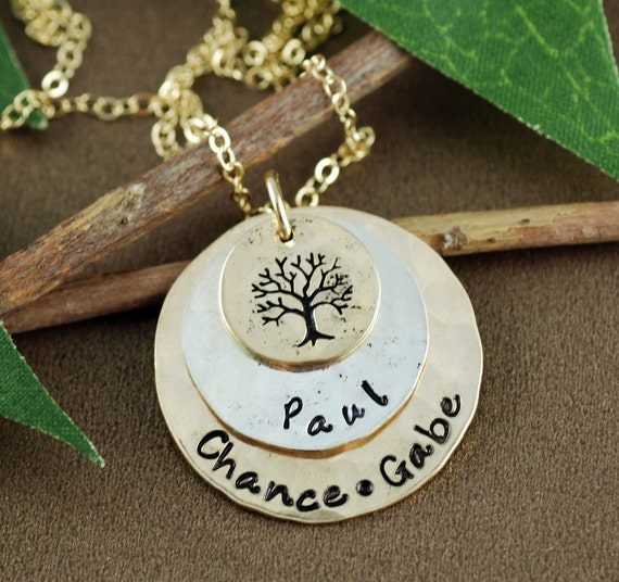 Personalized Tree of Life Necklace, Gold & Sterling Silver Necklace, Family Tree Necklace, Layered Necklace, Personalized Gold Necklace