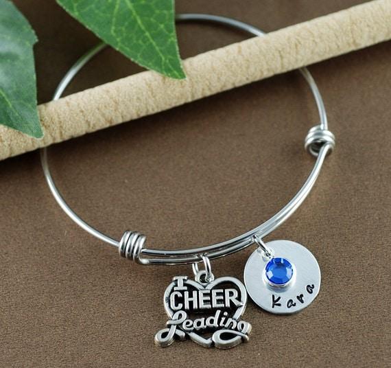 Cheer Charm Bracelets: Cheerleading Bangle Bracelet Cheerleading Gift Adjustable