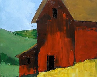 Impressionist Painting California RED BARN Plein Air Landscape Lynne French 12x16