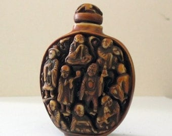 Asian LONGEVITY Carved Ornamental Chinese Snuff Bottle