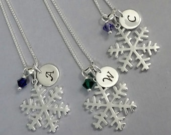 Snowflake Necklace, Sterling Silver Snowflake, Bridesmaid Gift, Winter Wedding Necklace, Winter Necklace, Bridesmaid Necklace
