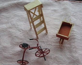 Dollhouse Decor. Red Tricycle, White Ladder, and brown Wheelbarrow. #43