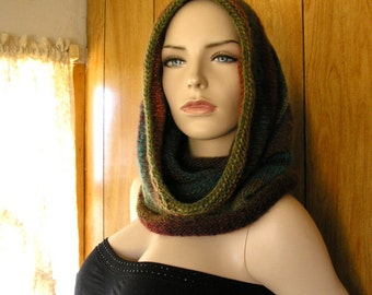 """Knit wool blend hooded cowl, cowl, infinity scarf,  hood, pixie hood, hand knit in blended earth shades, it is 30"""" around and 20"""" long"""