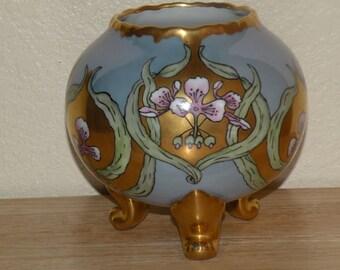 Art Nouveau design blue luster Rose Bowl