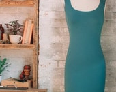 Lola- Bamboo Midi Dress - teal dress - long tank dress - long bodycon dress - teal blue layering dress - bamboo clothing - eco fashion