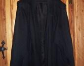 80s Black Wool New Wave Coat Sunny Lady XLarge Plus Size Distressed