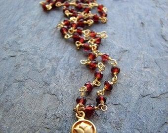 Lotus Necklace | Garnet Gemstone | Love Beauty | Gemstone Beaded  | Lotus Flower Necklace | Yoga Jewelry | Gold Lotus Charm | Gold Necklace