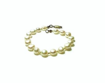 Freshwater Button Pearl Bracelet ,  Ivory White Button Pearls