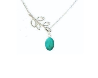 Turquoise Necklace , Leaf Necklace , Lariat  Turquoise Necklace , Silver Lariat Y  Necklace ,Turquoise Necklace,  Gift For Her