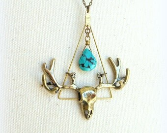 Deer head necklace deer skull bohemian jewelry turquoise triangle spirit animal jewelry hunting gifts for men deer antler southwestern