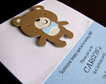 Teddy Bear Party Invitations, Teddy Bear Birthday Invitation, Teddy Bear Baby Shower Invitation, Bear Invitation, Build A Bear, Set of 12