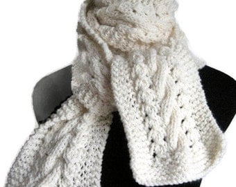 Off White Scarf, Cable and Lace Scarf Vegan Scarf, The Stef Scarf, Womens Scarf, Vanilla Knit Scarf, Fashion Accessories, Knit Cream Scarf