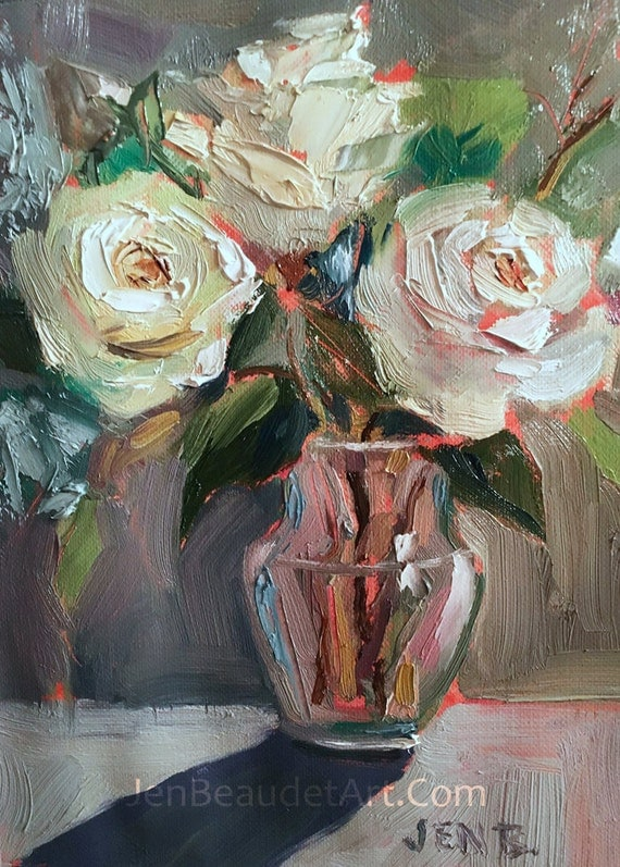 Original Oil Painting contemporary flowers, floral art, floral painting, white roses, oil, 5x7 inch