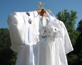4 Piece set for Baby Girl Christening in vintage white embroidered cotton.  Bonnet, dress, shoes, & coat.