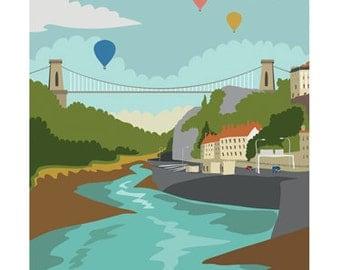 Clifton Suspension Bridge A4 or A3 Art Print // Clifton // Suspension Bridge // Bristol // Illustration // Hand Drawn // Home // Decor