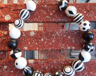 Vintage 1950s Black and White Polka Dot Painted Choker Necklace