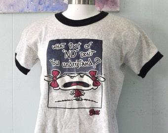 90s Vintage Ladies Babydoll tee TShirt Total Brat Humor Gray Ringer Ladies