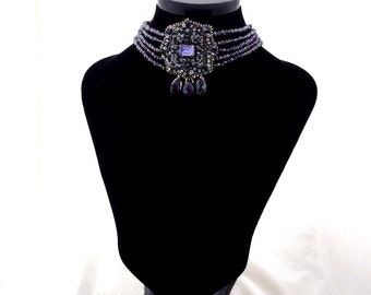 purple swarovski crystal choker | statement amethyste necklace | bead embroidered designer necklace | fall winter jewelry trends | OOAK