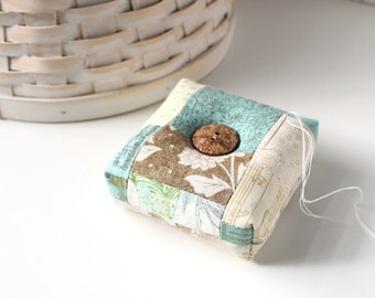 Modern Square Pincushion Brown and Blue Floral Pin Keep Scrappy Pin Cushion