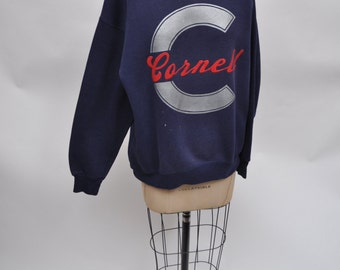 vintage sweatshirt CORNELL university retro 1980s oversized boyfriend fit 80s