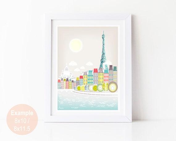 Paris Art Print, Paris Skyline Wall Art Prints Poster, Seine Bridges, Eiffel Tower, illustration, Art For Home, Nursery Art Print SPPPS1