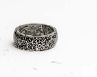Men Resin Ring Silver Gray Vintage French Ribbon Men Women Ring Big Size Smooth Ring OOAK minimalist jewelry