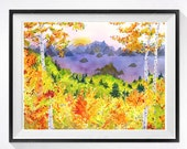 Abstract Landscape Art watercolor print Bolder Colorado artwork Wall decor bright yellow painting Aspen Trees paintings lavender Rustic