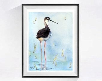 Coastal Shorebird Prints, Bird art prints, Shore bird painting, Watercolor beach landscape, Shorebird wall art decor, Seashore