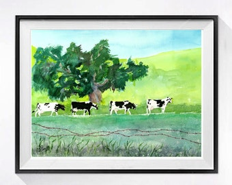 Landscape with cows watercolor print Dairy cows wall art Farmland watercolor painting landscape painting Watercolour tree artwork greenA
