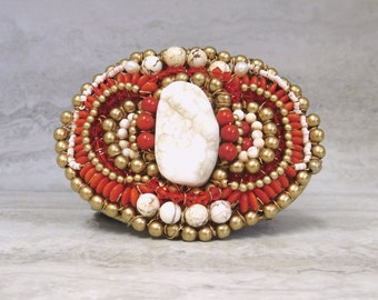Women's Belt Buckles- Native American Style Southwestern Buckle in Red Coral & White by Sharona Nissan