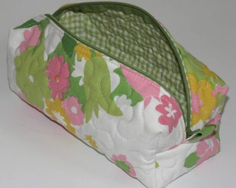 Quilted Boxy Zippered Pouch, Cosmetic Bag, Re-purposed Vintage Sheeting, Spring Flowers