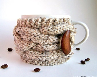 Coffee Cozy, Knit Cup Cozy, Tea Cozy, Coffee Mug Cozy, Coffee Cup Cozy, Coffee Cup Sleeve, Coffee Sleeve, Cup Warmer, Rustic Wedding Decor