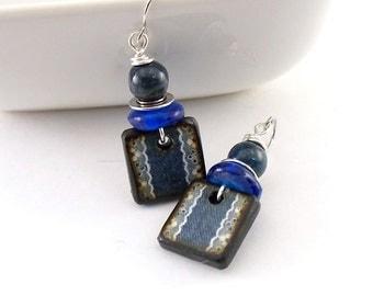 Handmade Earrings, Denim Blue Earrings, Wood Decopage Earrings, Artisan Earrings, Boho Earrings, Navy Blue Earrings, Silver Earrings