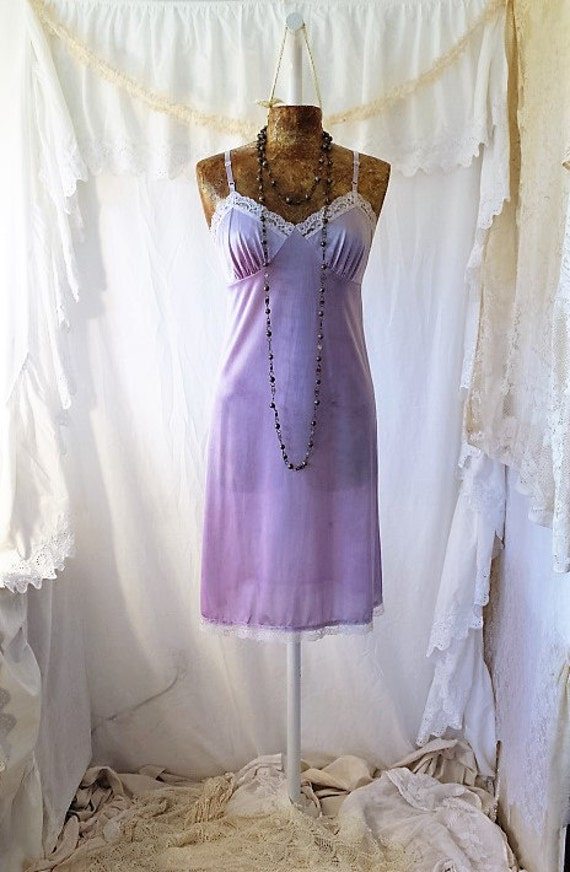 Small/Med vintage hand dyed slip dress/Tie Dye dress/Music festival/Tie Dye Sundress/Lavender creme Tie Dye/Shabby Chic Dress//Free People