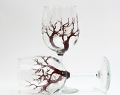 Cherry blossom wine glasses -- Set of 2 hand painted wine glasses