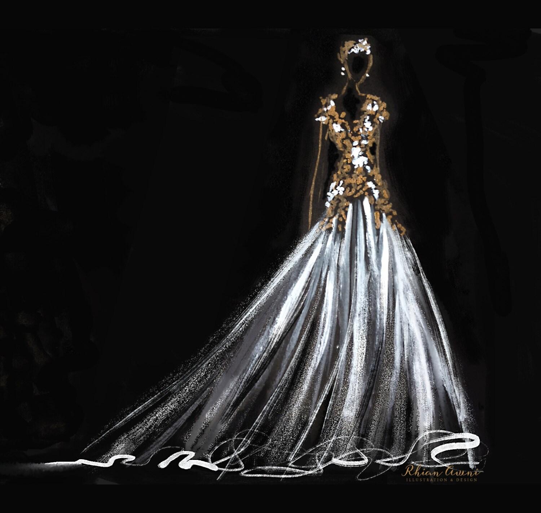 Custom Wedding Dress Sketch Wedding Gown Illustration Bride