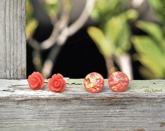 Rose and Opalescent Stud Earrings, Two Pair Set of Peach Iridescent Cabochons and Frosty Coral Resin Rosettes, Summerfall Collection