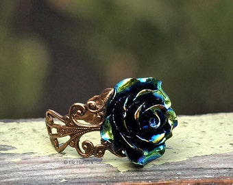 Oil Slick Rose Ring. Adjustable Resin Glossy Rose Filigree RIng. Bohemian. Hippie Chic