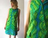 60s mini dress. psychedelic dress. lime green dress. 60s shift dress - xs, small