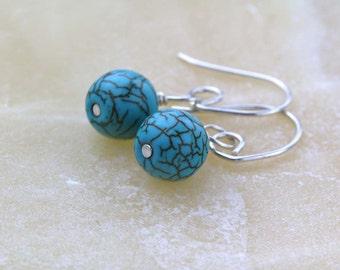 Turquoise Howlite Earrings, Mini Drop Earrings, Gift for Her, Everyday Jewelry, Howlite Gemstone Earrings